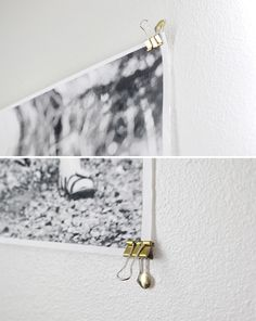 The easiest way to hang a big photo (as seen in Audrey's room)