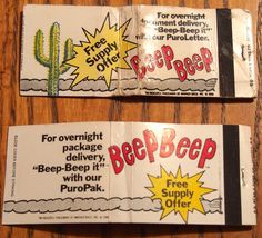 Beep Beep (?) #matchbook series - To order your business' own branded #matchboxes and #matchbooks, go to www.GetMatches.com or call 800.605.7331 today!
