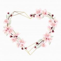 Love floral frame background with cherry blossoms Premium Vector Flower Background Wallpaper, Frame Background, Flower Backgrounds, Background Patterns, Floral Logo, Wedding Art, Wedding Flowers, Floral Border, Watercolor Flowers