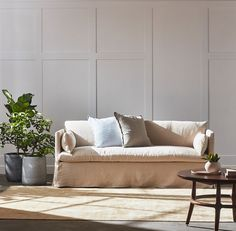my sixpenny sofa has the look i want! comfy, kind of slouchy with washable slipcovers and a hint of that effortless french style i so love. Paint Colors For Living Room, Living Room Decor, Living Spaces, Living Area, Living Rooms, Linen Couch, Couch Sofa, Interior Styling, Interior Design