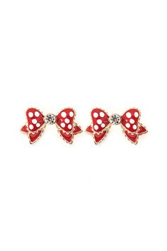 Polka Dot Bow Earrings in Rouge on Emma Stine Limited