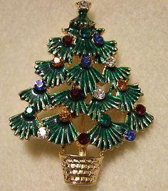 EISENBERG ICE CHRISTMAS TREE PIN WITH RHINESTONES ~ Jewelry Lot OC147