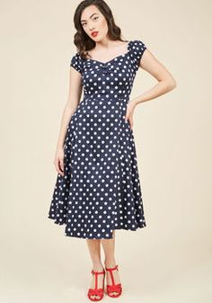 Got the Dots for You Midi Dress in Navy