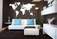 World Map Vinyl Wall Sticker by Vinylimpression on Etsy, £34.99