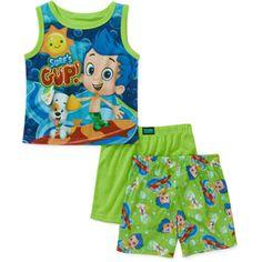 baby boysu0027 bubble guppies 3 piece tank and short pajama set awesome boy toddler