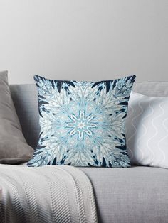 Winter Snowflake Mandala Throw Pillow By Karen Stahlros
