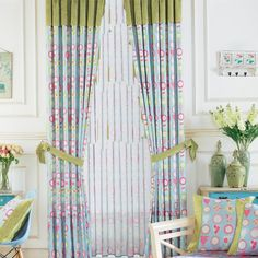 Country Blue, Green Floral  Curtains  #curtains #decor #homedecor #homeinterior #blue Decor, Kids Curtains, Floral Curtains, Modern, Home Decor, House Interior, Modern Prints, Paneling, Country Blue