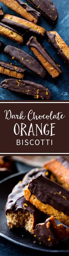 Orange, cinnamon, and walnut biscotti dipped in deep dark chocolate! The ultimate cookie to pair with your hot cup of coffee! Recipe on sallysbakingaddiction.com