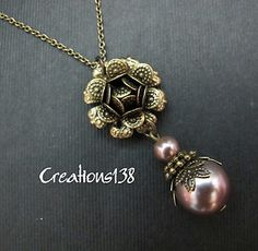 Vintage Style Brass Flower Cinnamon Glass Pearl Necklace Costume Jewellery