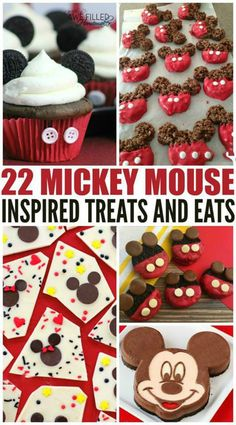 22 Mickey Mouse Inspired Treats And Eats! We love Mickey Mouse here but couldn& go to the park! So I decided to compile a list of tasty treats for the Disney lover! via Awe Filled Homemaker Disney Desserts, Snacks Disney, Disney Themed Food, Disney Inspired Food, Disney Cakes, Disney Diy, Walt Disney, Disney Food Recipes, Mickey Mouse Treats