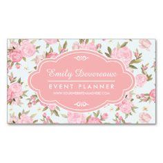 Vintage floral feminino elegante personalizado cartão de visita