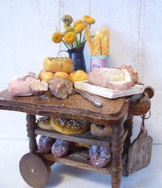 Darling Dollhouse Bread Trolley by KristinaBears on Etsy, $55.00