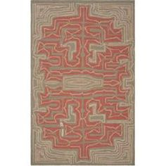 5' x 8' Rectangular Area Rug by Julie Cohn Stormy Sea/Terra Cotta Color Hand Hooked in China Labrinth Collection Indoor/Outdoor