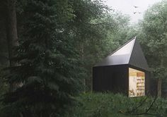 diamond forest cabin.  This geometric black cabin by industrial design student Tomek Michalski provides a haven in a lush wooded setting, with a wood-lined interior that still has a cabin feel without being dark or overly rustic. Two large glazed walls on the ground floor put the focus on the landscape.  Read more: http://dornob.com/black-diamond-angular-forest-retreat-with-minimalist-flair/#ixzz3ZO5URKDo