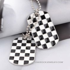 Army card mens alloy necklace military identity cards color dual licensing checkered pendant