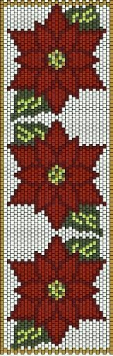 Red flowers peyote bracelet-having said that, it can be perfectly adaptade for a cross stitch pattern! Peyote Beading Patterns, Pony Bead Patterns, Peyote Stitch Patterns, Loom Beading, Bracelet Patterns, Motifs Perler, Beaded Banners, Beaded Christmas Ornaments, Cross Stitch Patterns