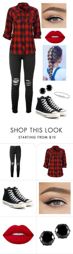 """outfit #5"" by dementorka ❤ liked on Polyvore featuring AMIRI, Full Tilt, Converse, Lime Crime, West Coast Jewelry, Malin + Mila and polyvorefashion"