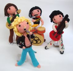 All menbers from Led Zeppelin in amigurumi by actantedorado