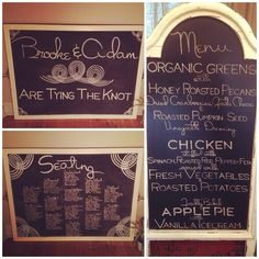 Coordinating Chalkboards- Seating Plan, Message and Menu by Dayna Vago Designs Honey Roasted Pecans, Roasted Pumpkin Seeds, Chalkboard Signs, Roasted Potatoes, Chalk Board, Fresh Vegetables, Menu, Ice Cream, Messages