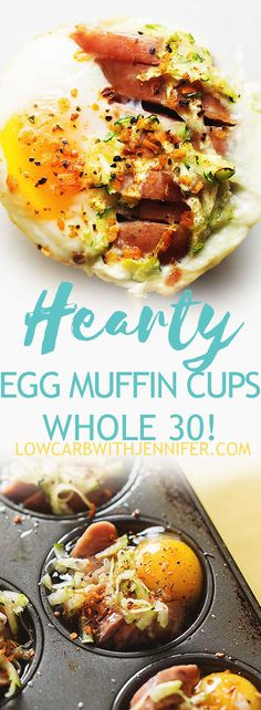 Egg muffin cups filled with sausage and zucchini making them a hearty and filling low carb, keto, and Whole 30 friendly breakfast!