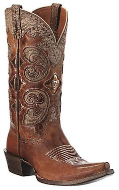 Ariat® Amora™ Ladies Shattered Copper Brown w/ Tan Inlay Snip Toe Western Boots | Cavender's Boot City
