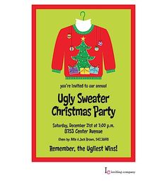 Ugly Sweater Christmas Party Invitations so ugly