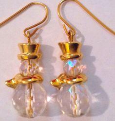 Vintage Avon Snowman Earrings Crystal Gold Tone Pierced Christmas Holidays #Avon #DropDangle