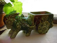 Vintage 1970's Green Donkey and Cart Planter Chipped As-Is has Flower Wheels