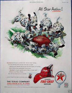 Texaco Fire Chief Dalmatian Puppies Dog Football (1952)