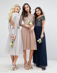 Shop Maya Bridesmaid Long Sleeved Midi Dress with Delicate Sequin and Tulle Skirt. With a variety of delivery, payment and return options available, shopping with ASOS is easy and secure. Shop with ASOS today. Sparkly Bridesmaid Dress, Asos Bridesmaid, Bridesmaid Outfit, Lace Bridesmaid Dresses, Asos Prom Dresses, Ball Dresses, Maya, Stylish Dresses, Cute Dresses