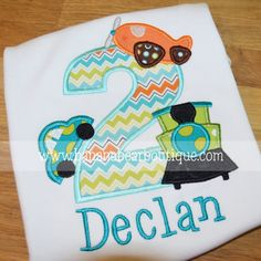 Planes Trains and Automobiles Applique Birthday Shirt on Etsy, $26.00