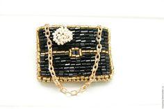 Купить Брошь Сумочка Брошь Сумка из бисера Брошка 'Inspired by Chanel' - черный, сумка