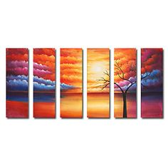 The Most Beautiful Clouds Oil Painting - Set of 6 - Free Shipping Modern Oil Painting, Modern Paintings, Oil Paint Set, Landscape Paintings, Oil Paintings, Seaside Style, Panel Art, Most Beautiful, Hand Painted