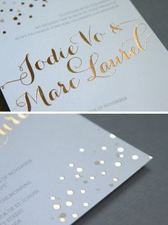 What's In: Foil Stamped Invitations -- The invitation look of the year? Foil stamping, with glints of metallic gold, silver and bronzes stamped directly on the invitation. Adds a very fun pop without being too glitzy. (Bridal Guide)