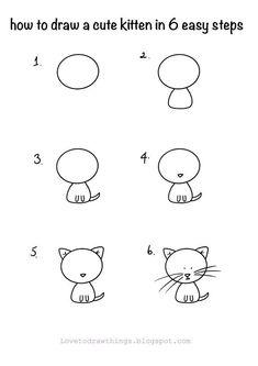 Easy Doodles Drawings, Easy Doodle Art, Easy Drawings For Kids, Simple Doodles, Art Drawings Sketches, Drawing For Kids, Cute Drawings, Cute Easy Animal Drawings, Easy Drawings For Beginners