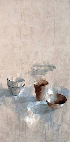Subtle, beautiful still life painting by Nono García: Composición marroquí-Moroccan Composition, mixed media/canvas, 195x97 cm.