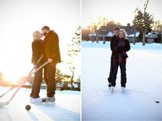 A hockey engagement! You really can't get more Canadian than this!