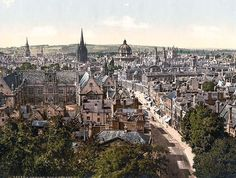 Old photo of Oxford looking up towards Big Tom! The City of Spires! Oxford City, Oxford England, London England, Mary Shelley, Oh The Places You'll Go, Places To Visit, Jude The Obscure, England And Scotland, Dream City