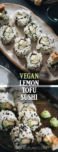 This plant-based lemon tofu sushi features slices of crisp cucumber and meaty tofu cutlet, wrapped in rice and nori with a tangy lemon cashew butter. The texture and flavor contrasts make it refreshing and fun to eat. Best Vegan Recipes, Tofu Recipes, Vegan Dinner Recipes, Appetizer Recipes, Whole Food Recipes, Vegetarian Recipes, Snack Recipes, Healthy Recipes, Appetizers