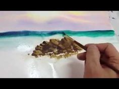 How to paint wave in watercolor - YouTube