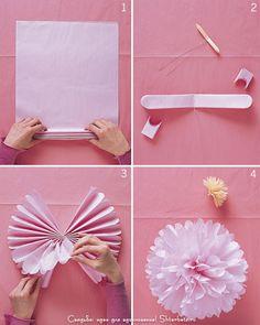 Бумажный помпон своими руками: мастер-класс по изготовлению помпона на свадьбу