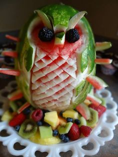 Owl carved watermelon