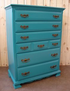 70's Turquoise Lacquered Painted 6 Dr Chest or Dresser