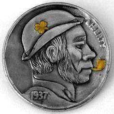 Marcus Hunt Hobo Nickel, Coin Collecting, Art Forms, Sculpture Art, Buffalo, Coins, Carving, Scrapbook, Cactus