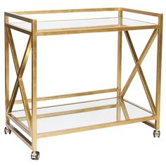 X-Frame Bar Cart – Gold Leaf