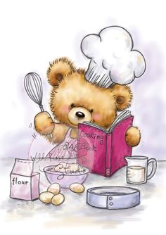 Teddy Cooking by Wild Rose Studio Tatty Teddy, Clip Art Pictures, Cute Pictures, Cute Clipart, Cute Teddy Bears, Bear Art, Cute Images, Cute Illustration, Cute Cartoon