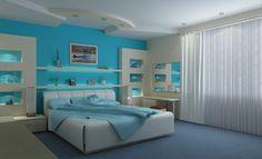 Slaapkamer in moderne stijl (andere kleur) - mooie wandmeubel.