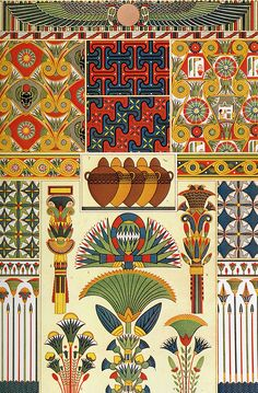 Ancient Egypt Ornaments (Owen Jones's The Grammar of Ornament Originally published in 1856). Examples of Egyptian patterns with the shared colour palette of blues, greens, golds and reds
