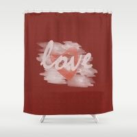 Red Canvas Watercolor Heart Love Shower Curtain #love