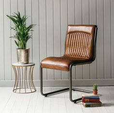Italian Steel And Leather Office Chair